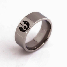 Movie Star Wars ring Jedi Symbol men rings Men jewelry hand decorated titanium steel Beveled Brushed Center