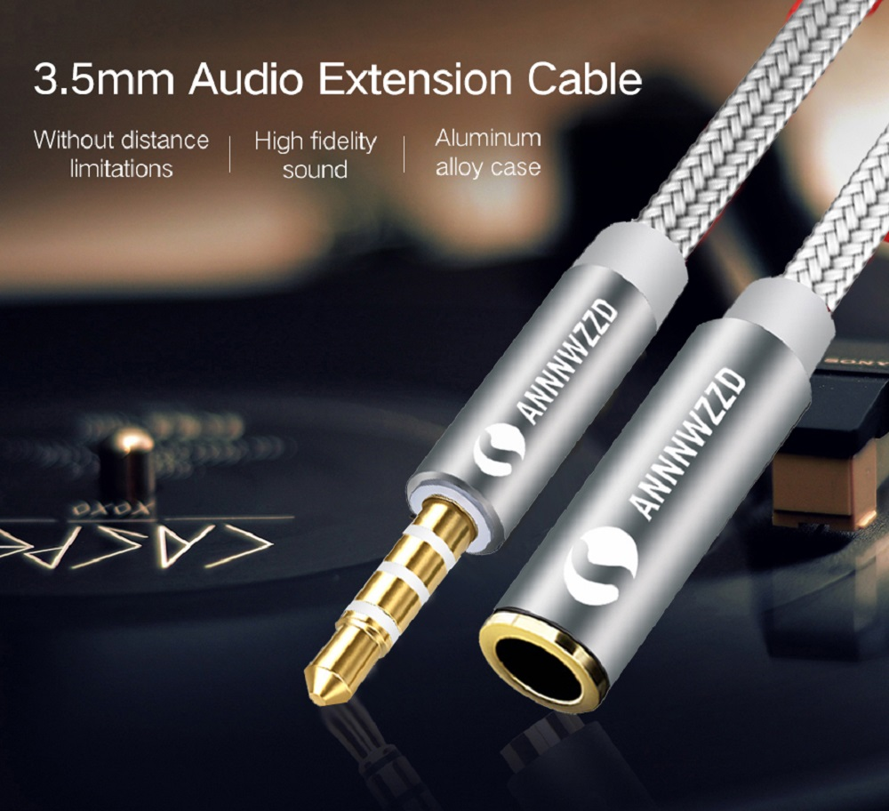 3.5mm Jack Audio Extension Cable for iPhone 6s Stereo 3.5mm Jack Aux Cable for Car/iPhone / Media Players Headphones Aux Cable
