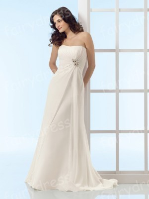 48246bd9dd08e Slim A line Strapless Dipped neck Chiffon Sweep Train Wedding Dress ...