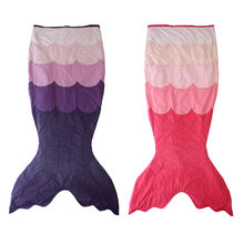 148cm New Fish Scales Mermaid Tail Blanket Soft Coral Fleece Children Sleeping Bag Swaddle Sofa Wrap Throw Bed Blanket for Kids(China)