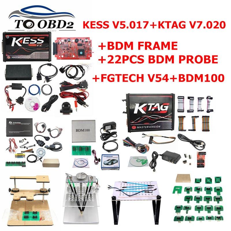 Full ECU Chip Tuning Tool Online EU Red Kess 2.53 V5.017 Unlimited KTAGV7.020 FGTECH Galletto 4 V54 V0386/V0475 BDM100 Car Truck