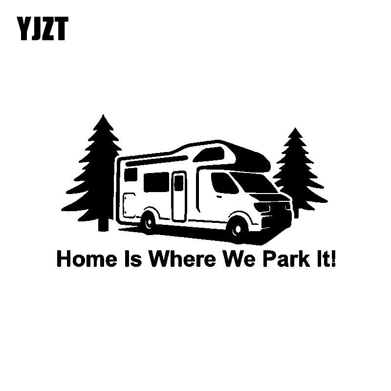 YJZT 17.7CM*9.7CM Fashion Home Is Where We Park it Waterproof Car-styling Car Sticker Decal Vinyl C11-1358