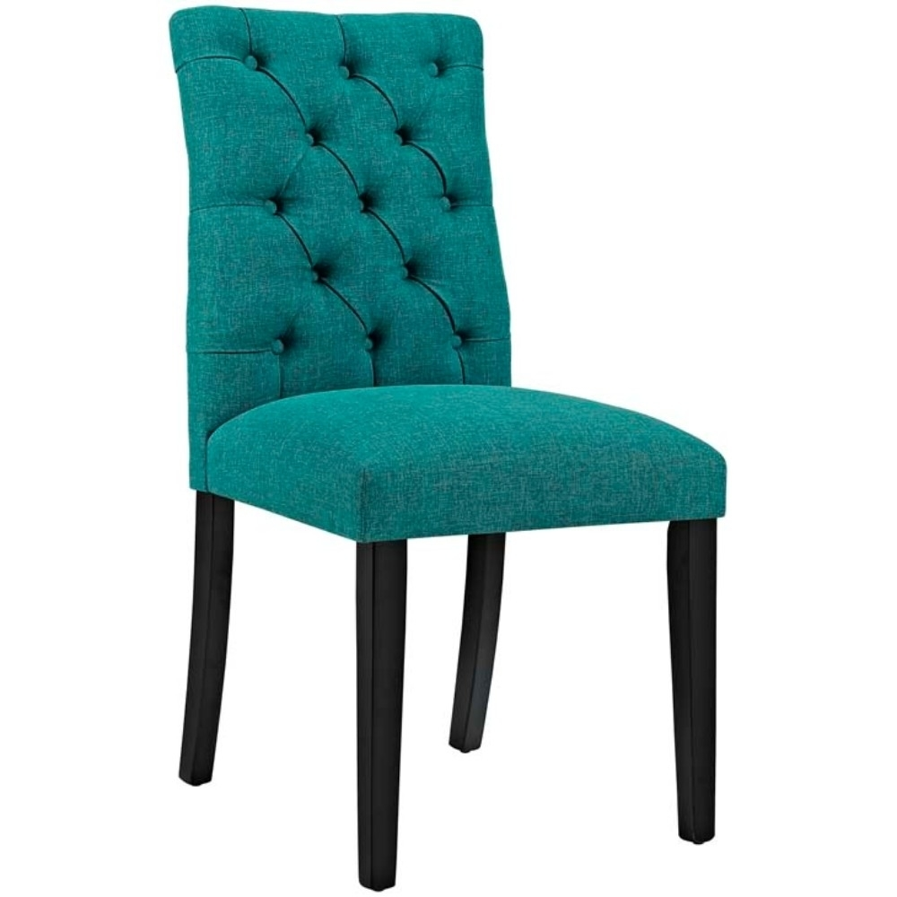 Duchess Fabric Dining Chair, Teal anso contemporary teal color fabric accent chair