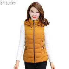 b 2018 New Autumn Winter Vest Women Waistcoat Female Sleeveless Jacket Hooded Warm Short Outwear Plus Size 4XL