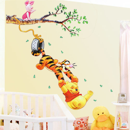 Pooh Tree Animal Cartoon Vinyl Wall Stickers For Kids Rooms Home Decor DIY Child Wallpaper Art Decals 3D Design House Decoration In From