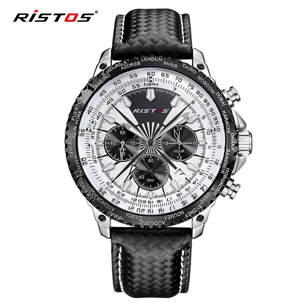 RISTOS Watch Fashion Sport Men Quartz-Watch Chronograph Calendar Leather Men's Watches Waterproof Wristwatch Black Relojes 2016 hubot elegant classic men s watch dates calendar classical art carved craft design chronograph men sport watches relogios