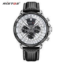 RISTOS Watch Fashion Sport Men Quartz Watch Chronograph Calendar Leather Men s Watches Waterproof Wristwatch Black
