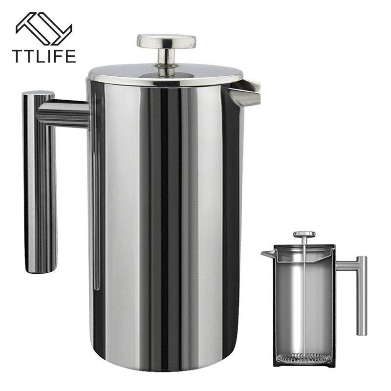 TTLIFE New Hot-vente Délicat Machine À Café À Double Paroi 304 En Acier Inoxydable Presse Française Café Thé Pot avec Filtre 350/800/1000 ML