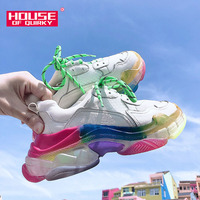 New Women Vulcanized Shoes Comfortable Round Head Lace Up Sneakers Colorful Jelly Bottom Casual Shoes Woman Mesh Running Shoes