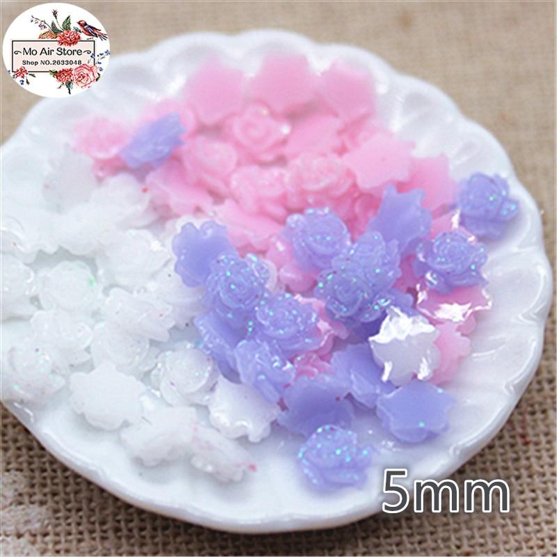 500pcs 5mm White/pink/purple Shiny Flower Resin Flatback Cabochon DIY Jewelry/phone Decoration No Hole