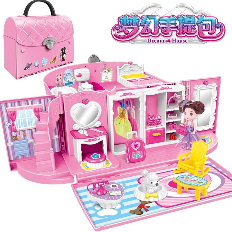 US $65.83 5% OFF|Toy Kitchen Sets For Kids Handbag House Pretend Play  Kitchen Toys Children\'s Bathroom Bedroom Set Princess Girl Birthday  Present-in ...
