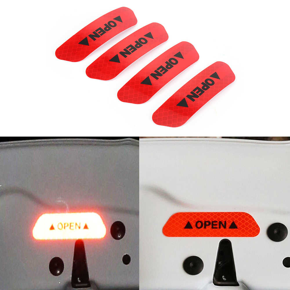 4 Pcs Mobil Pintu Stiker Peringatan Tape Mobil Stiker Reflektif Strip Reflektif Mobil Styling 4 Warna Keamanan Mark stiker Mobil
