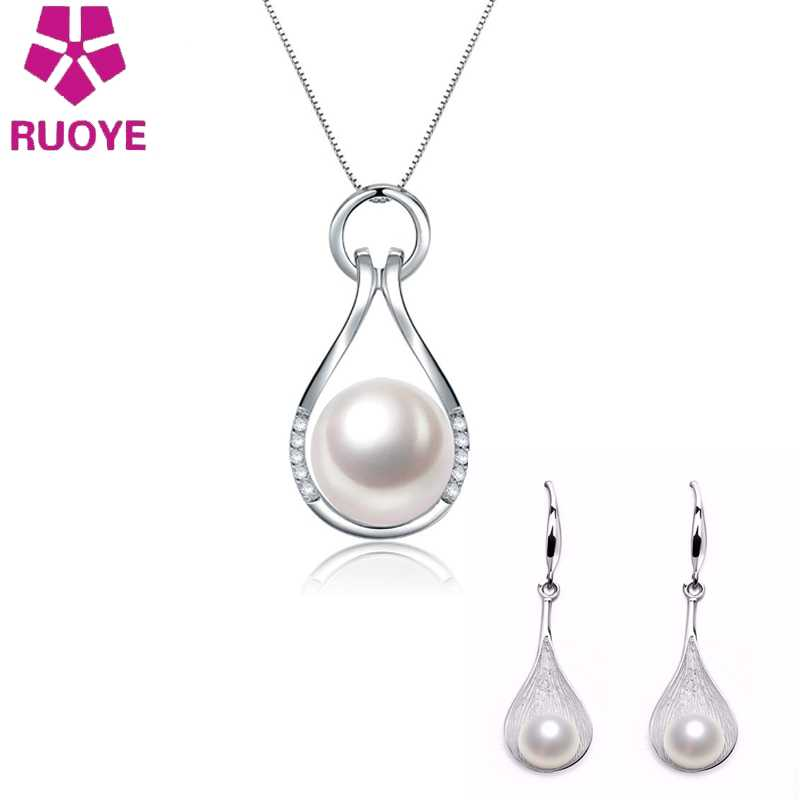 Classic Jewelry Set Pearl Necklace Pendant Earring For Women New Wedding Silver Jewellery Femme Parure Bijoux