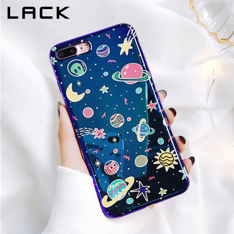 LACK Universe Series Phone Case For iphone X Case For iphone 6 6S 7 8 Plus Fashion Blu-Ray Cover Cute Planet Moon Star Cases