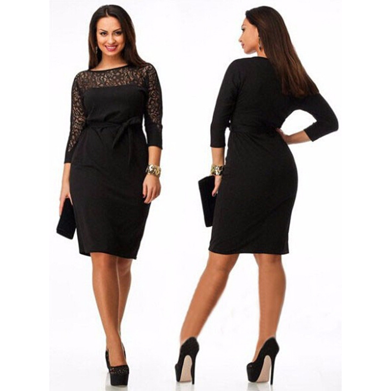 2016 Autumn Fall Winter Plus Size Women Clothing 5xl 6xl Office Las Work Wear Dress Gauze Long Sleeve Christmas Print In Dresses From S