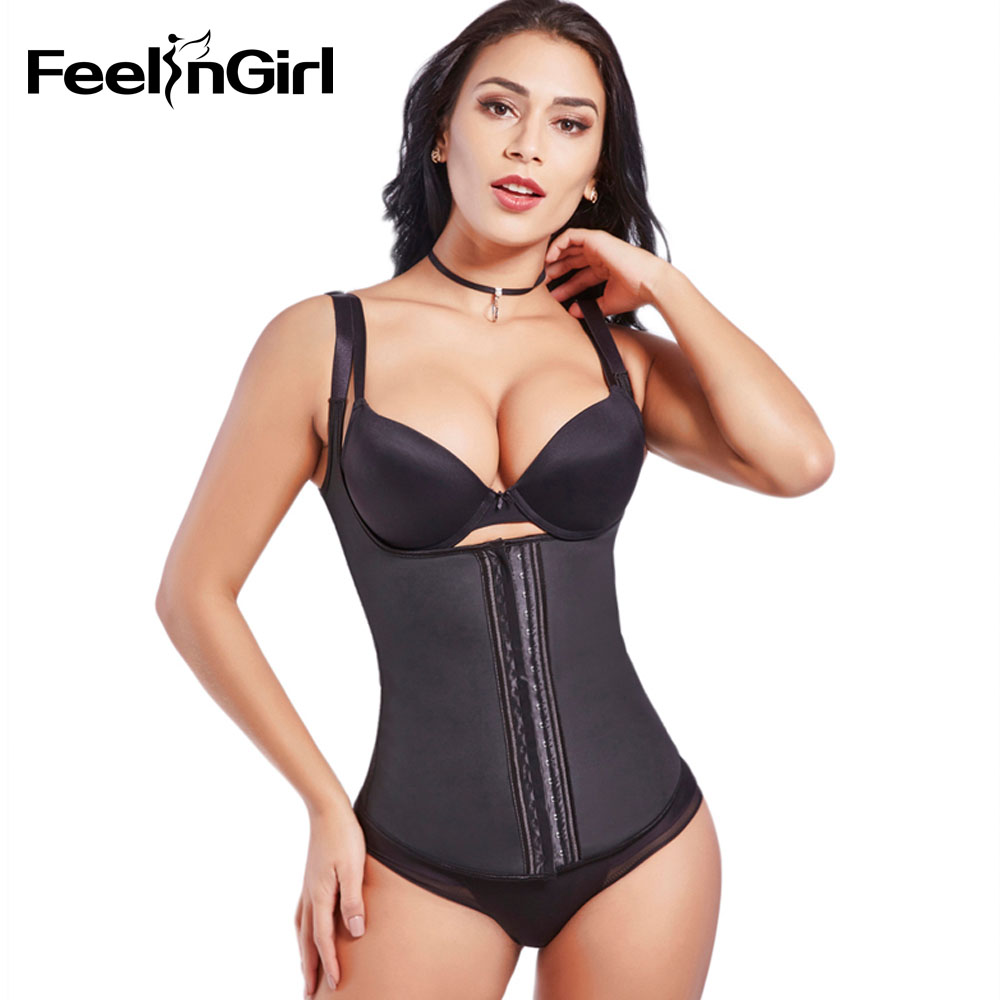 FeelinGirl Latex Pinggang Korset Wanita Latex Waist Cincher Corset Strap Latex Waist Trainer Girdles Belt Vest Slimming Shapewear