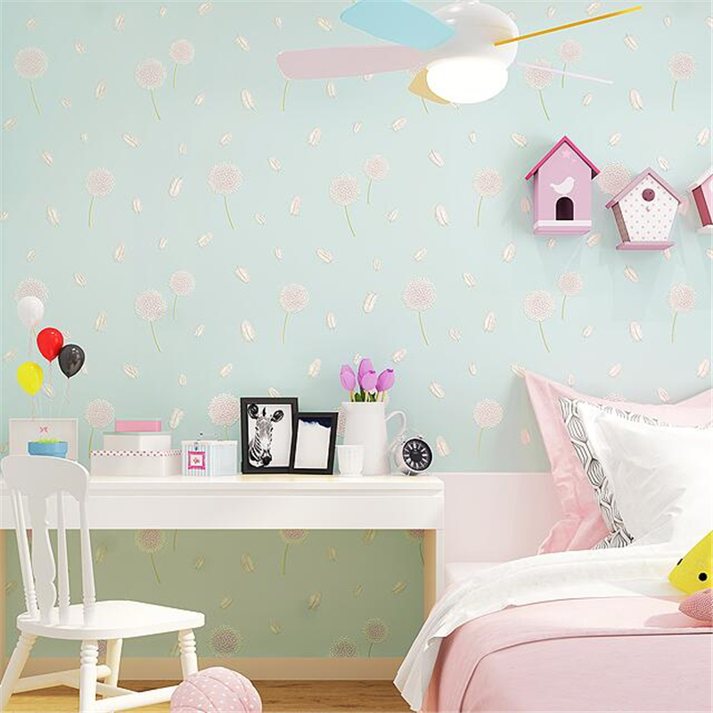 beibehang Wallpaper Pastoral Bedroom Small Fresh Living Room Korean Wallpapers Kids Room Wallpaper Dandelion Papel de parede beibehang new italian pastoral large nonwovens wallpapers living room bedroom background wallpaper housekeeping