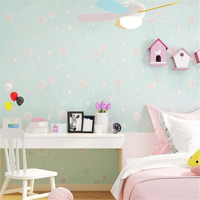 bedroom korean living wallpapers fresh papel zoom pastoral beibehang dandelion parede background mouse plain