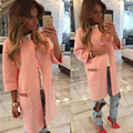 2016 Новый стиль осень женщины куртки сплошной цвет темперамент горячая продажа feminina куртки пальто открытым стежка случайные JT360