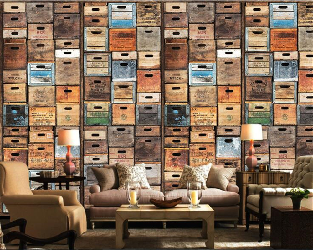 beibehang Personality retro beer box mural wallpaper bar KTV background wall papel de parede 3d wallpaper for walls 3 d beibehang papel de parede 3d wall paper roll for living room background hotel ktv modern simulation fur wallpaper for walls 3 d