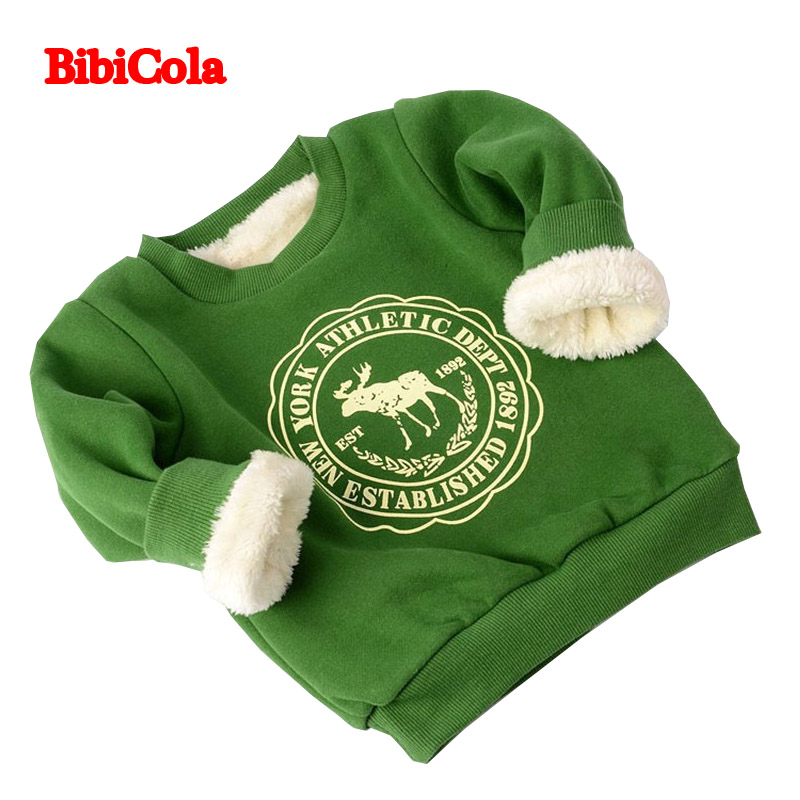 BibiCola Winter Infant boys Cartoon Sweater kids girl Sport Clothes Child Pullover Casual Thicken Plus velvet  Outerwear Coat