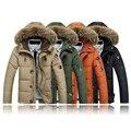 Envío libre 2016 ropa de los hombres chaqueta de invierno outwear mangas Capa Caliente Masculina Sólido hombres outwear M-5XL