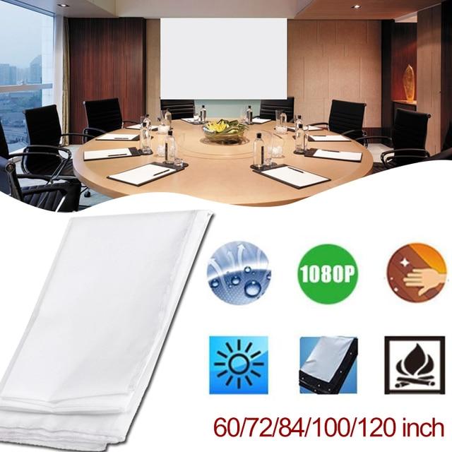 Cewaal mini cortina de projeção 169 hd 60/72/84/100/120 polegada tela do projetor tela fibra lona para projetor cinema em casa