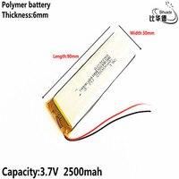 Batería de energía de 3 7 V 2500mAH  batería de iones de litio/Li-ion de polímero 603090 para juguete  Banco de energía  GPS mp3 mp4 de buena calidad