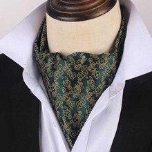 Korean Silk Bridegroom Wedding Evening Party Men Tuxedo Suit Dark Green Golden Flower Embroidery Neckerchief Scarf Tie Cravat