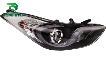 Pair Of Car Headlight Assembly For HYUNDAI ELENTRA Tuning Headlight Lamp Parts with Daytime Running Light Bi Xenon project lens