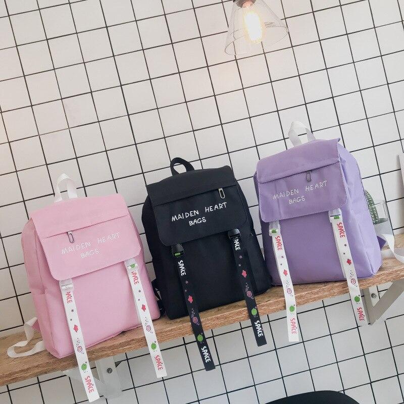 Women's Backpack Purse Schoolbags Canvas Embroidered Harajuku Girls Korean Streamer Teen