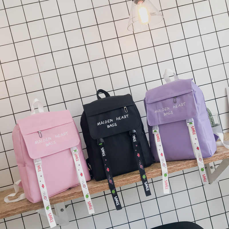 981b1145fb0b Harajuku Embroidered Canvas Women's Backpack Streamer Schoolbags for ...