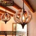 American rural designer lights Nordic LOFT extreme simplicity hemp rope pumpkin retro rustic bar hotel chandeliers lamp lighting