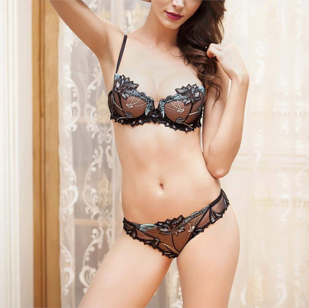 Sexy Seamless Lace Bra Panties Set For Women Big Size Push Up Brassiere Sets Underwear Panty Briefs