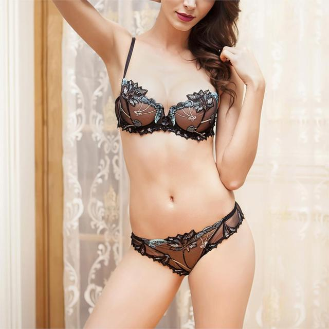 d2c4fbc37f Balaloum Transparent Bra Set Ultra-thin Sexy Lingerie Embroidery Underwear  Women Bra and Panty Sets Acousma Brand Intimates Girl