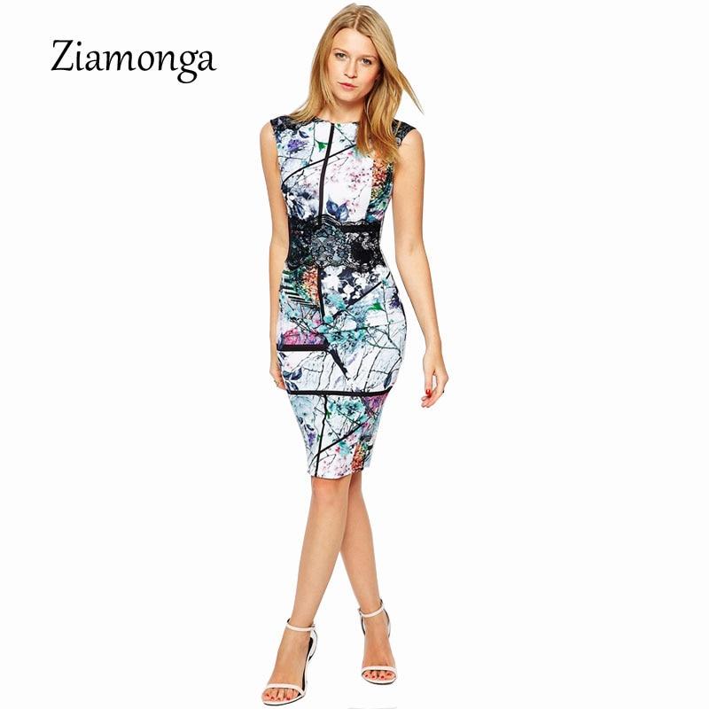 Ziamonga New Arrival Fashion Printed Midi Dress Sleeveless Summer Style Floral Pencil Dress