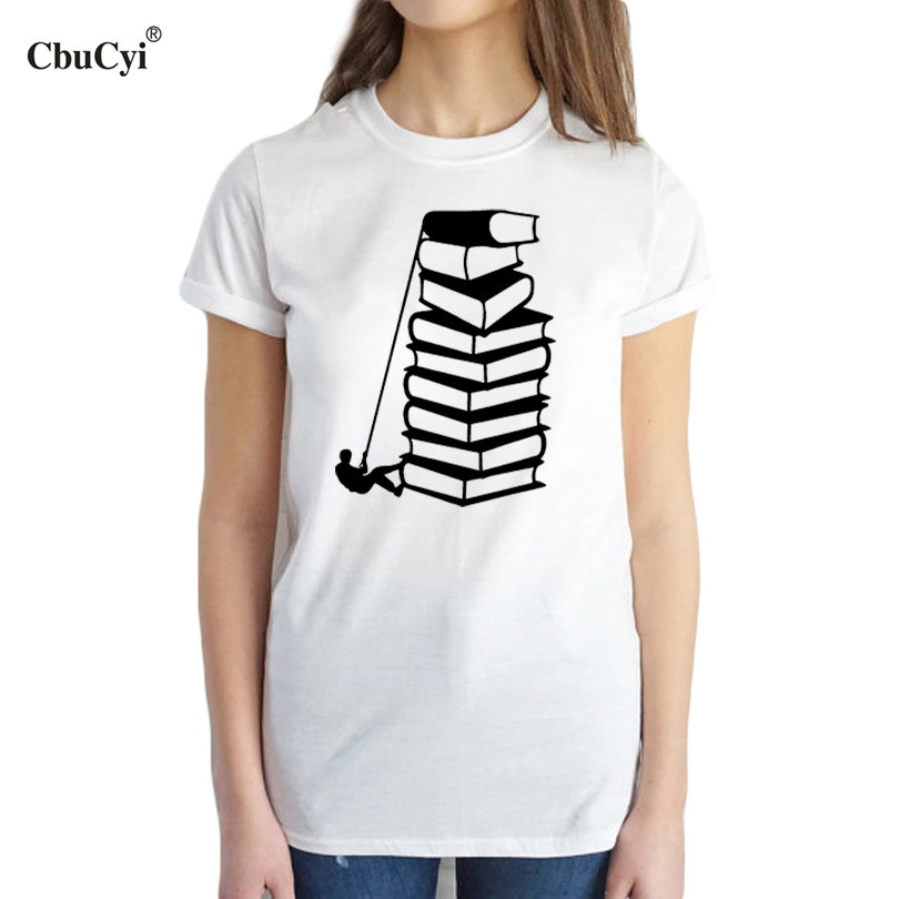 Cbucyi books lovers reader t shirt female funny bookworm for Cheap college t shirts online