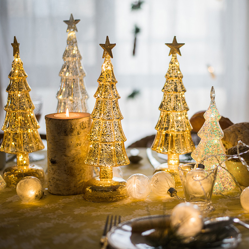LED 3D Glass Abajur Night Light Table Night Lamp Christmas Tree Battery Operated for Home Wedding Christmas Decoration 2019