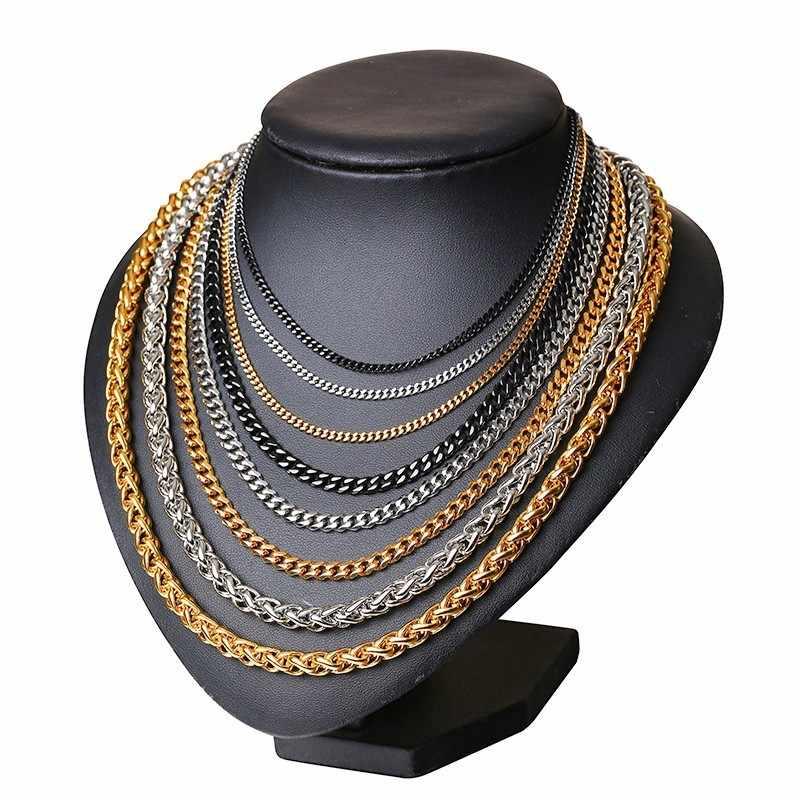 """Curb kubański Link łańcuch dla mężczyzn dla kobiet złoto czarny srebrny kolorów ze stali nierdzewnej stalowe długie łańcuchy Choker biżuteria 30 """"3mm 5mm 7mm szerokość"""