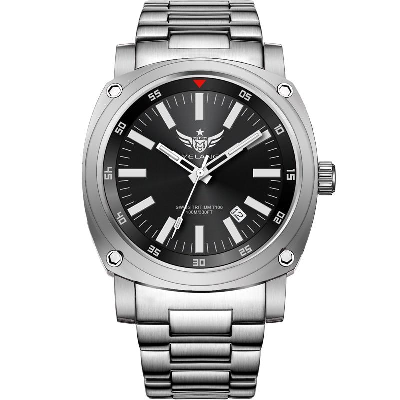 Yelang V3.3 плюс супер яркий трития газ светящиеся мужские Сапфир Зеркало мужские деловые Titanium сплав автоматические механические часы