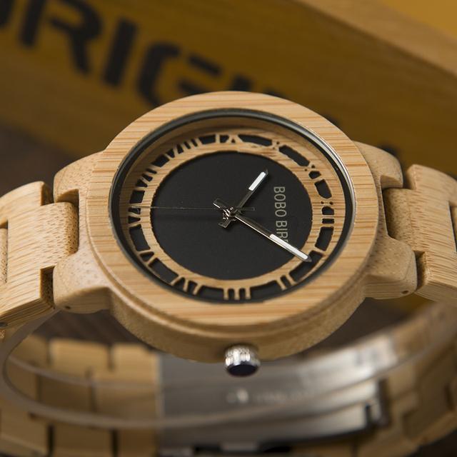 BOBO BIRD Wooden Handmade Men Quartz Watch with Gift Box