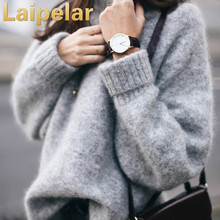 2018 Women Loose Pullover Sweater Autumn Knitted Pullovers Gray Tops Laipelar Winter Sweaters