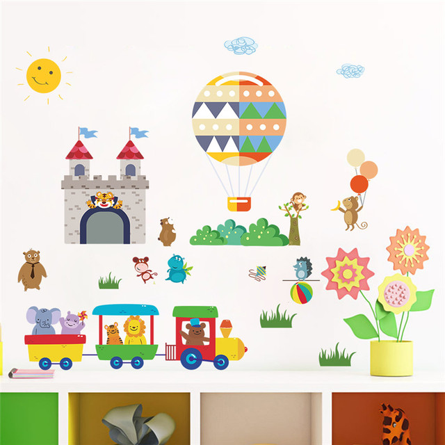 Cartoon Forest Animals Train Wall Stickers For Kids Rooms Hot Air Balloon Castle  Wall Decals Children