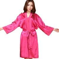 Top Quality New Hot Pink Chiese Women Silk Chiffon Robe Sexy Kimono Bath Gown Sleepwear Nightgown