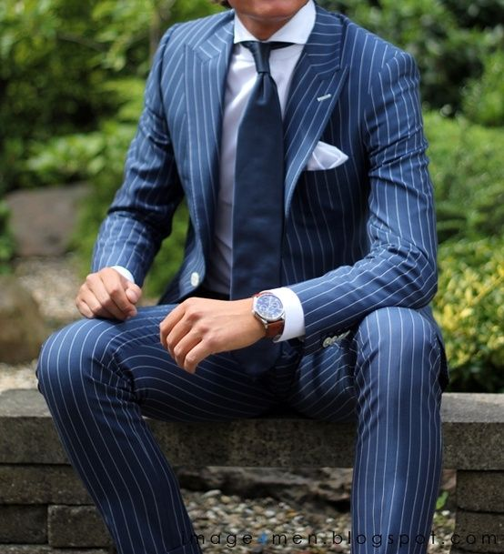 Navy Blue Retro Tailor Made Stripe Mens Wedding Prom Suits 2 Pieces Slim Fit Groom Tuxedos 2017 Dinner Man Suit Blazer Masculino