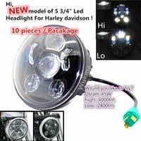 Оптовая продажа 10 шт. 5 3/4 5,75 Круглый Светодиодный проекционный мото фара для мотоциклы Harley черный и хром 10 шт. лампы