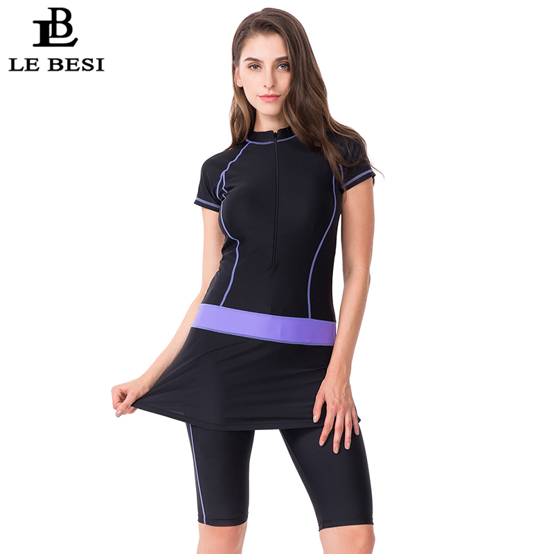 LEBESI 2019 New Two Piece Skirt Swimsuit For Women Sports Surf Suit Tankini Long Pants Bathing Suit With Zipper Sleeve Swimwear