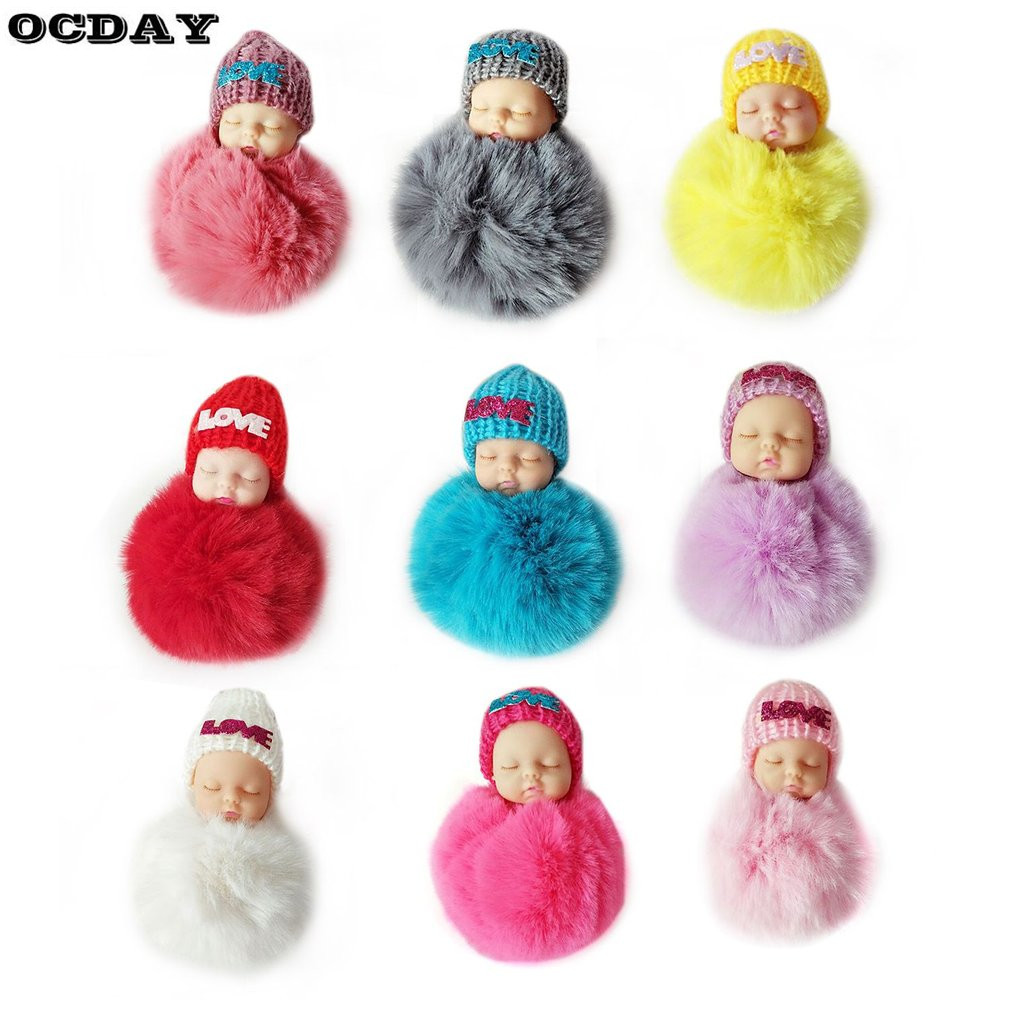 OCDAY Sleeping Baby Doll Plush Keychain Creative Cute Small Soft Fur Doll Pendant Car Bag Charm Fluffy Ball Keyring Toy for Kids