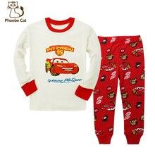 Cartoon Cars Children Pijamas Sleepwear Suit For Winter 100% Cotton Kids Pajamas Long Sleeve Boys Pyjamas Toddler Clothing Sets