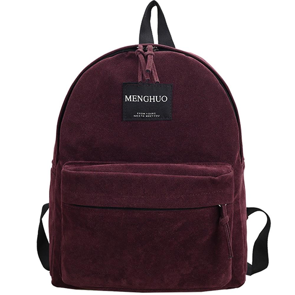 Women Backpack Preppy Suede Backpacks Girls School Bags Vintage Backpack  Travel Bag Female Backpack Burgundy Gray 2fe18bedaa0d3
